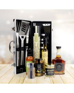 Deluxe Barbeque Tool Gift Basket with Liquor