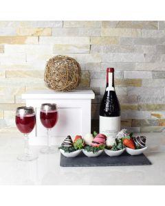 Wine & Chocolate Dipped Strawberries Basket