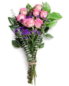 Pink Roses, Eucalyptus, Statice with Mixed Green Foliage Flower Arrangement