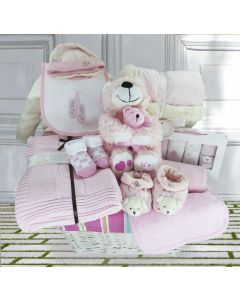 Beverley Bear Baby Girl Gift Basket