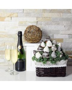 Champagne & Chocolate Dipped Strawberries Gift Basket