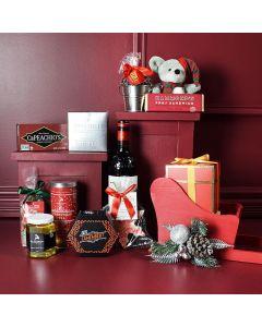 Christmas Sleigh with Wine Gift Set