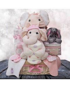 Sweet Pink Elephants Baby Basket