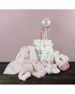 It's A Girl! Champagne & Diaper Gift