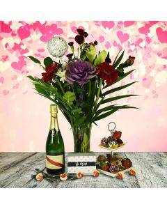Champagne, Chocolate Strawberries and Flowers