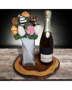 Champagne with Chocolate Dipped Strawberries Bouquet