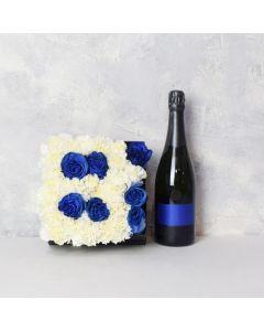 It's A Boy! Champagne & Flower Box Basket