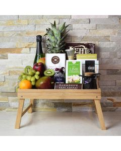 Foodie's Delight Fruit & Snack Basket with Champagne