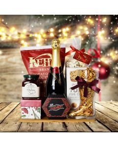 Christmas Champagne & Cheese Snack Basket
