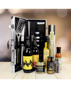 Deluxe Barbecue Tool Gift Basket with Beer!
