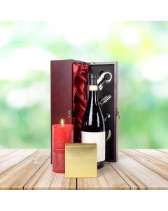 Red & Gold Truffles and Wine Gift Basket