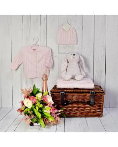 THE BABY GIRL CABLE-KNIT SET WITH CHAMPAGNE