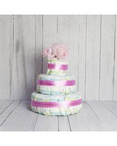 BABY GIRL DIAPER CAKE GIFT SET