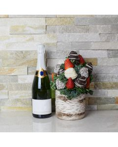 Champagne & Chocolate Dipped Strawberries Vase