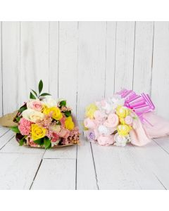 FLORAL & CUDDLY BOUQUET FOR THE BABY GIRL GIFT SET
