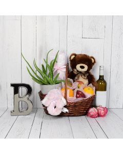 Teddy Bear & Blankets Baby Gift Set with Wine