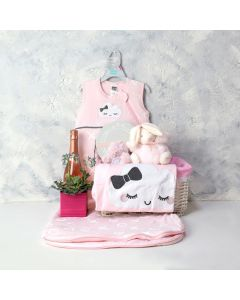 A LITTLE LOVE BABY GIRL GIFT BASKET WITH CHAMPAGNE