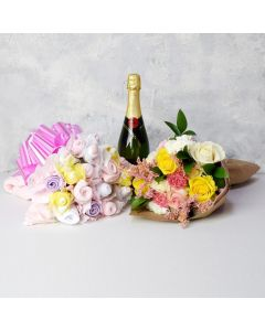BABY GIRL BOUQUET GIFT SET WITH CHAMPAGNE