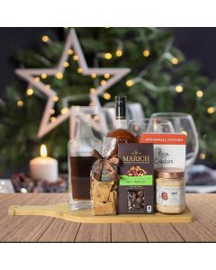 Holiday Liquor Decanter & Treats Gift Basket