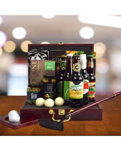 Executive Golf Putting Set Gift Basket, With Beer!