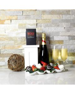 Champagne & Chocolate Dipped Strawberries Boat