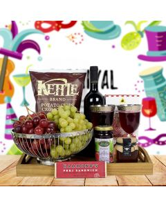 Purim Fruit & Wine Basket