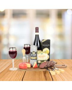 Wooden Cheese Board & Wine Gift Set