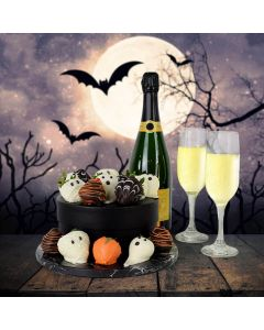 Spooky Halloween Chocolate Dipped Strawberries & Champagne
