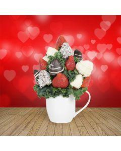 Chocolate Dipped Strawberries in a Ceramic Mug