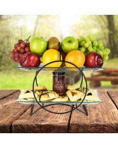 Purim Two-Tiered Hamantaschen & Fruit Basket