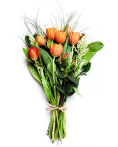 Orange Tulips, Cotoneaster & Mixed Greens