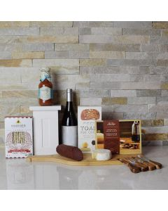 Assorted Meat, Cheese & Wine Gift Basket