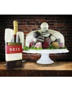 Champagne, Chocolate & Chocolate Dipped Strawberries in a Large Dome