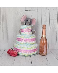Diaper Cake Gift Set with Champagne