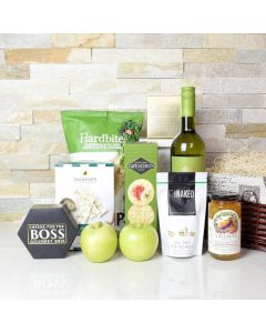 Apple, Wine & Cheese Gift Basket