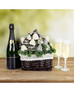 Champagne & French Chocolate Dipped Strawberries Bouquet