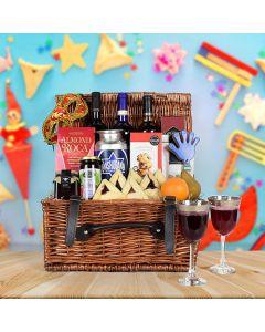 Deluxe Purim Wine & Snack Basket