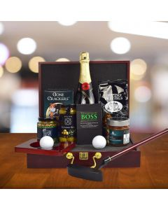 Executive Golf Putting Set Gift Basket, With Champagne
