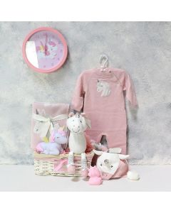TIK TIK PINK UNICORN GIFT BASKET FOR THE BABY