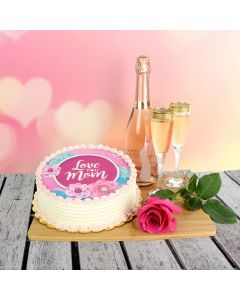 Rose & Cake Champagne Gift Basket