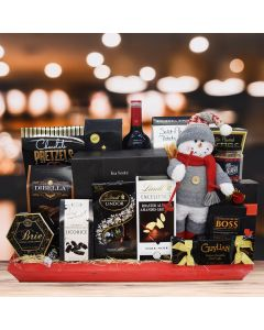 Red Sled and Wine Christmas Gift Basket