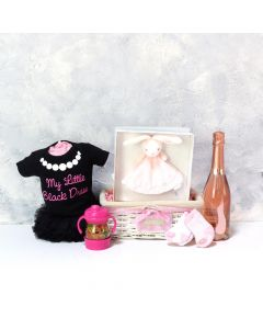 BABY GIRL'S LI'L BLACK DRESS SET WITH CHAMPAGNE