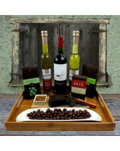 Deluxe Chocolate & Dippers Wine Basket