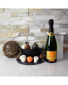 Halloween Chocolate Dipped Strawberries & Champagne