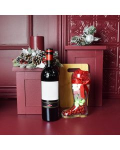 Holiday Wine & Candy Boot Gift Set