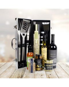 Deluxe Barbeque Tool Gift Basket with Wine