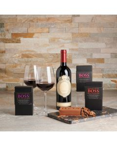 Boss Wine Matching Chocolate & Cutting Board, Wine Gift Baskets, Gourmet Gift Baskets, Chocolate Gift Baskets, USA Delivery
