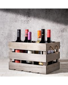 Hazelton's Six Wine Crate with House Wine, Wine Gift Baskets, USA Delivery