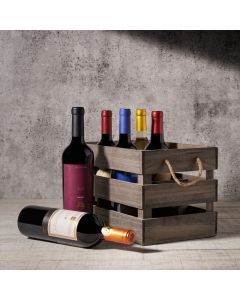 Hazelton's Six Wine Crate with Premium Wine, Wine Gift Baskets, USA Delivery