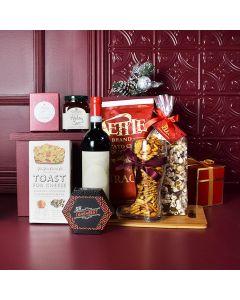 Christmas Cheer Wine & Cheese Snack Basket